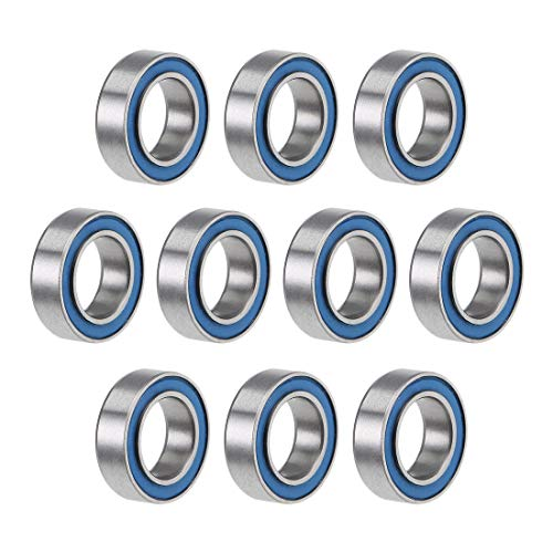 uxcell MR106-2RS Deep Groove Ball Bearings 6mm Inner Dia 10mm OD 3mm Bore Double Sealed Chrome Steel Blue Seal Z2 10pcs