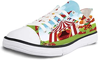 K0k2t0 Canvas Sneaker Low Top Shoes,Circus Decor Circus Elements with Clown Elephant Balloons and Icecream Cart Watercolor Illustration Art