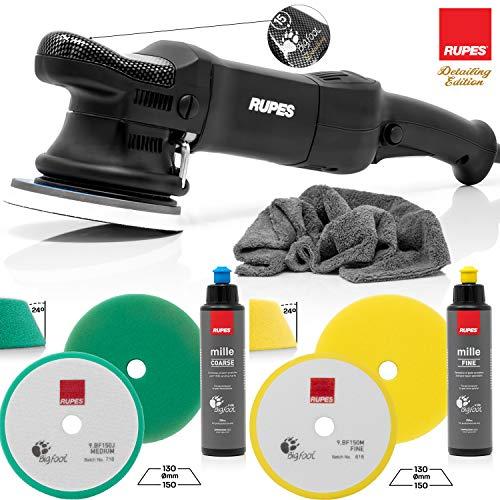 detailmate professionelles Rupes Poliermaschinen Set - LHR15ES Detailer Poliermaschine + 1 Medium Cut Pad + 1 Fine Cut Pad + Grobkörnige Polierpaste 250ml + Feine Polierpaste 250ml + Poliertuch