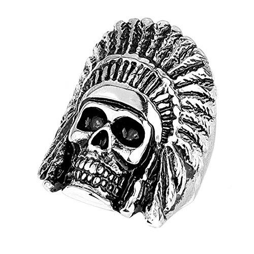 Piersando Herren Ring Edelstahl Biker Rocker Indianer Häuptling Totenkopf Männer Herrenring 26mm Breit Silber Größe 66 (21.0)