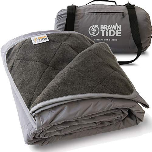 Brawntide Große Outdoor-Decke – gesteppt mit extra dickem Fleece, warm, Winddicht, ideal für Camping, Festivals, Picknicks, Strände, Hunde, grau, Large