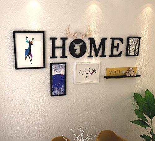 Modern restaurant muurschildering creatieve brief foto muur fotolijst combinatie herten hoofd muurschildering hanger,4 fotolijst +acryl HME letters muursticker+ plank (zonder ornamenten)