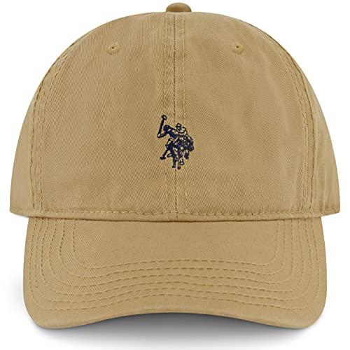 U.S. Polo Assn. Sombrero de béisbol ajustable de algodón de sarga lavado para hombre con logotipo de Pony y ala curvada - beige - talla única
