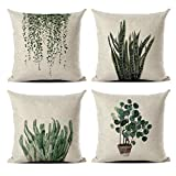 MENGT Set of 4 Green Plant Throw Pillow Covers Decorative Cotton Line Outdoor Cushion Cover Sofa Home Pillow Covers 18x18…
