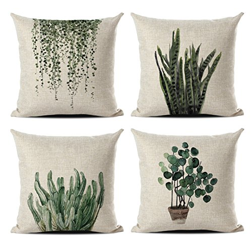 MENGT Set of 4 Green Plant Throw Pillow Covers Decorative Line Outdoor Cushion Cover Sofa Home Pillow Covers 18x18…