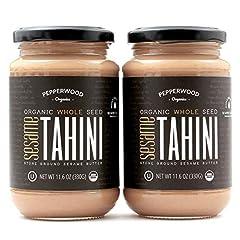 100% Stone Ground Unhulled Sesame Tahini Butter USDA certified Organic Tahini Kosher Certified Tahini / Vegan / Gluten-Free / Dairy-Free / Non GMO / No added salt / Paleo approved. Rich in Calcium, Iron, Copper, Manganese, Phosphorus, Thiamin, Protei...
