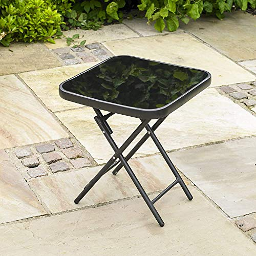 Garden Mile Small Functional Foldable Occasional Garden Drinks Table, Glass Top Bistro Table for the Patio, Ideal for the Garden or Indoors, Fashionable Occasional Table, Foldable for easy Storage