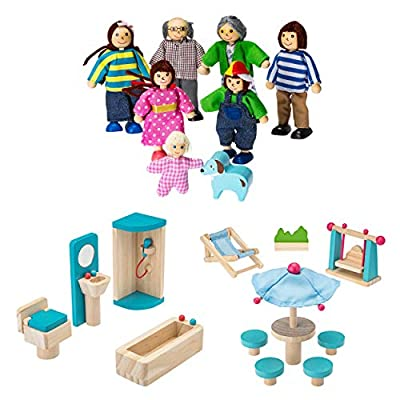 Dragon Drew Wooden Dollhouse Furniture and Family Bundle: Including 1 Doll Family with Dog, 1 Patio Set and 1 Bathroom Set - Colorful Dollhouse Accessories Set - (20 PCS)