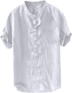 KLJR Men Casual Short Sleeve Summer Curved Hem Solid Henley T-Shirt