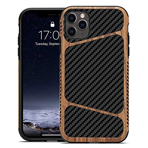 LCHULLE for iPhone 11 Wood Case with Carbon Fiber Texture Design Hybrid Protection Slim Case for Men Soft TPU Rubber Wood Bumper Non Slip Shockproof Protective Cover for iPhone 11