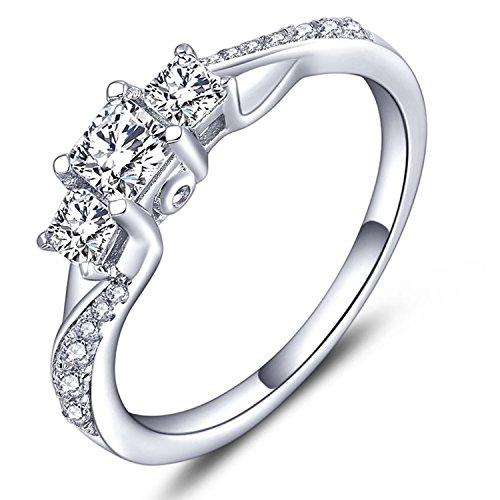 YL Plata de ley sólida con tres brillante corte princesa circonio cúbico anillo con el Chapado en oro blanco
