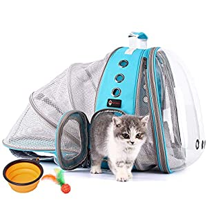 HOTLANTIS Pet Backpack Carrier Cat Backpacks Bubble Space Capsule Clear Pet Carriers for Small Dog, Airline-Approved Waterproof Cat Carrier
