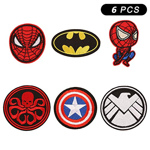 6 Pieces Cartoon Marvel The Avengers Spiderman Captain America Hydra Shield Batman Logo Iron On Sew On Embroidered Patch for Jackets Backpacks Jeans and Clothes Badge Applique Sign Motif Decal