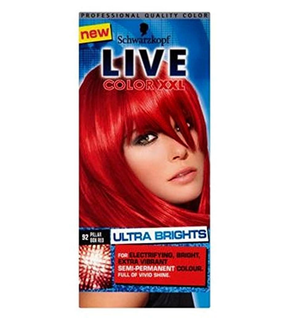 水星説得切断するSchwarzkopf LIVE Color XXL Ultra Brights 92 Pillar Box Red Semi-Permanent Red Hair Dye - シュワルツコフライブカラーXxl超輝92ピラーボックス赤半永久的な赤い髪の染料 (Schwarzkopf) [並行輸入品]