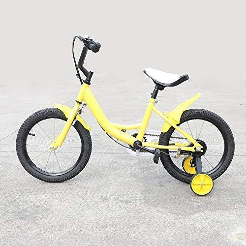 Berkalash - Bicicleta infantil de 16 pulgadas, marco de acero al carbono, unisex, con ruedas de apoyo de contrapedal (amarillo)
