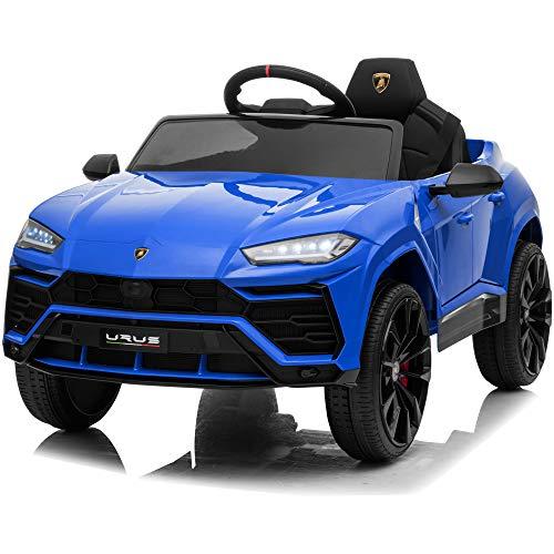 Kidzone 12V 7AH Licensed Lamborghini Urus Kids Ride On Car Electric Vehicle High/Low Speed W/ Remote Control, Horn, Radio, USB Port, AUX, Spring Suspension, Opening Door, LED Light, Blue
