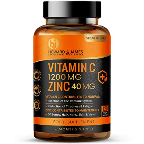 Vitamin C 1200mg and Zinc 40mg per Daily Serving - 120 High Strength Vegan Capsules with Ascorbic Acid - 2 Month Supply - Made in The UK by Howard & James