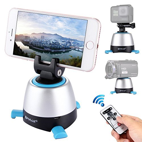 Tripod Head Mount 360°Rotation Panoramic Head Timelapse Variable Speed with Remote Control Rechargeable Panning Head for Camera, Smartphone, Gopro,Camcorder, Video Camera, Tripod, Monopod