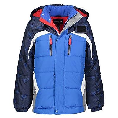 LONDON FOG Boys' Big Active Puffer Jacket Winter Coat, Blue Solid Hood, 14/16