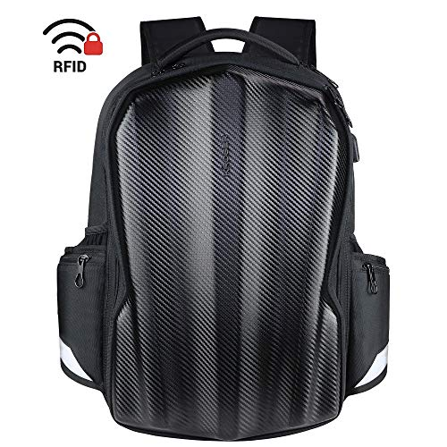 KROSER Travel Laptop Backpack 17.3 Inch Gaming Computer Backpack Molded Carbon Fiber Water-repellent Cool Looking College School Laptop Bag with RFID Pockets for Work/Business/Riding/Men/Women-Black