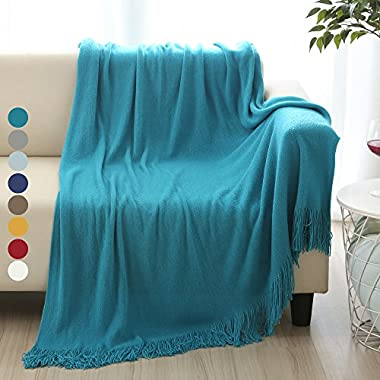 ALPHA HOME Soft Throw Blanket Perfect Gift Warm & Cozy for Couch Sofa Bed Beach Travel - 50  x 60 , Turquoise