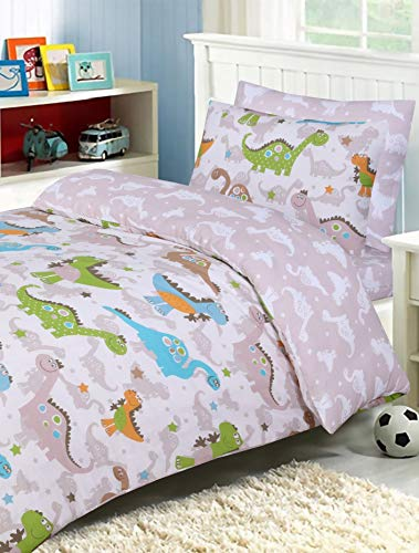 Divine Textiles - 100% Cotton Kids Childrens Bedding Set Reversible Duvet Cover With Pillowcases and Matching Fitted Sheet, Dino - Single Complete Set