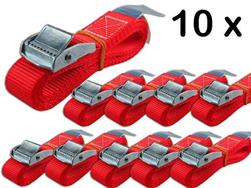 10 x 250 kg daN 2m Spanngurte mit Klemmschloss 25mm Spannriemen Befestigungsriemen DIN EN 12195-2