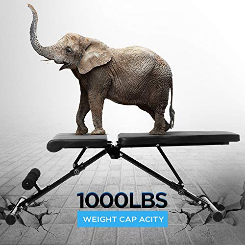 Adjustable Workout Bench, Utility Weight Bench for Home Gym Incline Decline Bench for Full Body Workout 1000lbs (Upgraded Version)