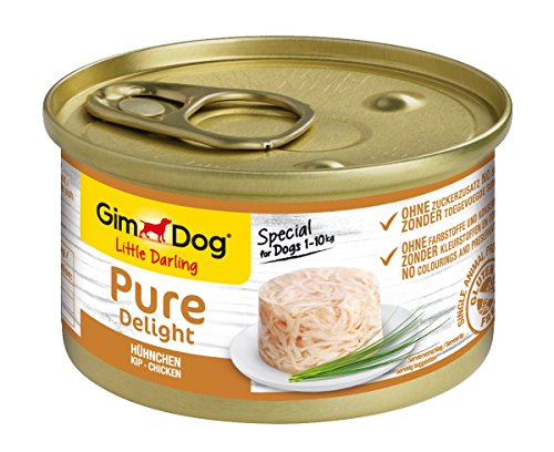 GimDog Pure Delight, pollo - Snack para perros rico en proteínas, con carne tierna en deliciosa gelatina - 12 latas (12 x 85 g) ✅