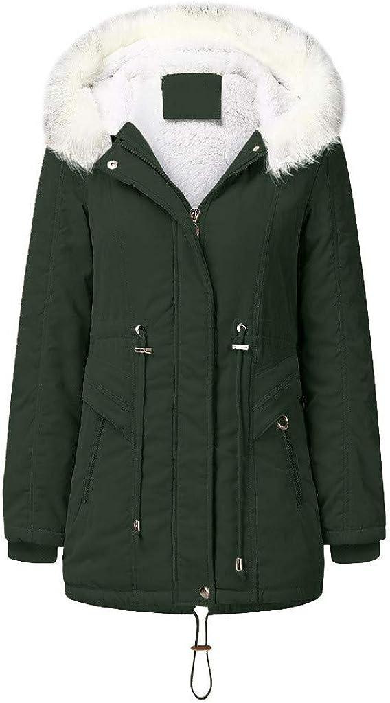 TLOOWY Womens Coats Hooded Warm Fleece Lined Winter Coats with Faux Fur Lined Outerwear Jacket Down Coat