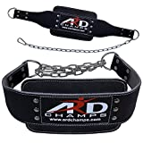 ARD Heavy Duty Leather weight lifting Dipping belt with chain BLACK