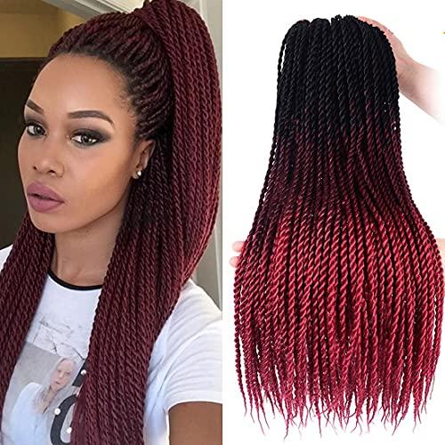 Ombre Color Braids Hair 24 Inch YOLANA Senegalese Crochet Braiding Hair 30 Strands 100 Gram/Pack Small Mambo Twist Crochet Hair Crochet Braids Hair For Black Women(6 Packs/Lot,Black/Wine Red)