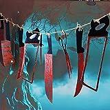 DEALBUHK 12pcs / Lot Víspera de plástico Cuchillo Sangre Instrumentos Juegos de Terror Casa encantada fantasmagórica Colgando Cuchillo Garland Banner decoración de Halloween Regalos para Adolescentes