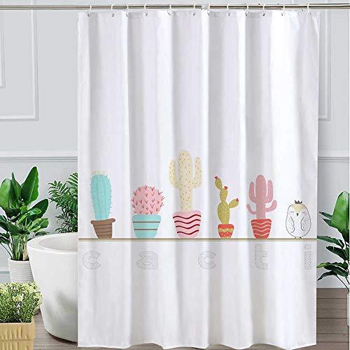 WYPDM Duschvorhang 3D Digitaldruck Kaktus Duschvorhänge Wasserdicht Und Mehltau Hotel Home Bad Vorhang,1.2 * 1.8m