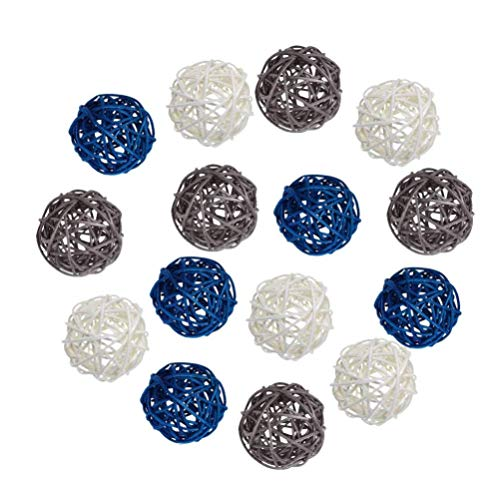 VOSAREA 15PCS Wicker Rattan Balls Decorative Orbs Vase Fillers for DIY Wedding Party Baby Shower Aromatherapy Accessories Valentines Day Decoration