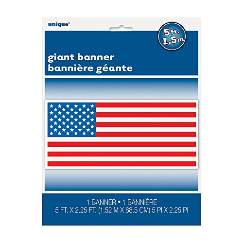 """4th of July American Flag Wall Banner & Photo Prop, 60"""" x 27"""""""