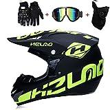 PKFG AO-327 Full face Motocross Helm, Adult Helm Sport Adventure Enduro Motorradhelme Motocross Schutzhelm Unisex MTB Schutz Sicherheit Helm mit Handschuhe Maske Brille,M54~55CM