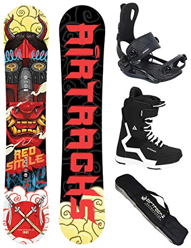 Airtracks Snowboard Set/Board Red Smile Wide Hybrid Rocker 162 + Snowboard Bindung Master + Boots Strong 45 + Sb Bag