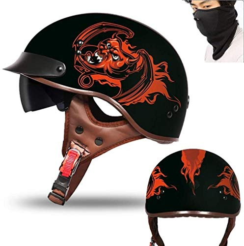 RXX666 Motorrad Halbhelme Brain-Cap · Halbschale Motorrad-Helm Jet-Helm Roller-Helm Scooter-Helm Mofa-Helm Retro HelmeMotorrad Half Helm mit Built-in Visier für Cruiser Chopper Biker-XL=(61~62CM)_E