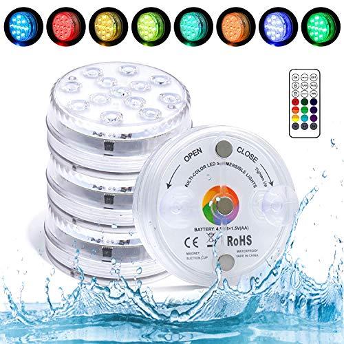 13-LED Unterwasser Licht IP68 Wasserdichtes Poolbeleuchtung mit Drahtlos Ferngesteuerten 16 Farbe RGB Hohe Helligkeit Dekorative Licht für Zuhause Pool Garten Teich Aquarium Home Partys (4 Stk)