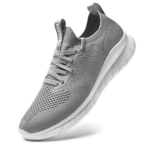 Falechay Laufschuhe Damen Turnschuhe Herren Sneaker Sportschuhe Joggingschuhe Walkingschuhe Traillauf Fitness Schuhe Straßenlaufschuhe Freizeitschuhe für Outdoor Hellgrau 37 (013)