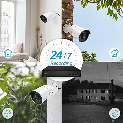 Reolink PoE Home Security Camera System 4 Megapixels Super HD 2560x1440 16 Channel NVR 3TB Hard Drive 8 Bullet IP Cameras 24/7 Recording RLK16-410B8