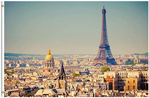 LAKILAN Torre Eiffel En París Francia Arquitectura Paisaje Urbano Bandera Brisa,Banderas De Vacaciones,Garden Decoration Flag,Banderas De Jardín,150X90Cm Banner,Decorativo Al Aire Libre