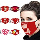 6 Packs Valentine's Day Mask Decoration Reusable Washable Mask for Women/Man Valentine's Day Party Mask (B) Red
