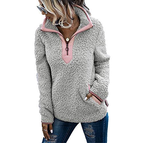 ZFQQ Chaqueta de Mujer de otoño e Invierno con Bolsillos con Cremallera, Cuello Alto, Manga Larga, suéter