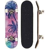 Sumeber - Tabla de skateboard para adultos, para principiantes, cumpleaños, monopatín, para adolescentes, niñas, niños y adultos, Árbol de coco