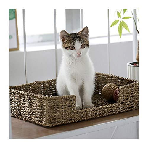 LXHONG Cesta De Mimbre para Cama De Perro, Cama De Mimbre para Gatos, Cama para Perros De Ratán para Esquina La Tienda De Animales Plantas Acuáticas, Lavable