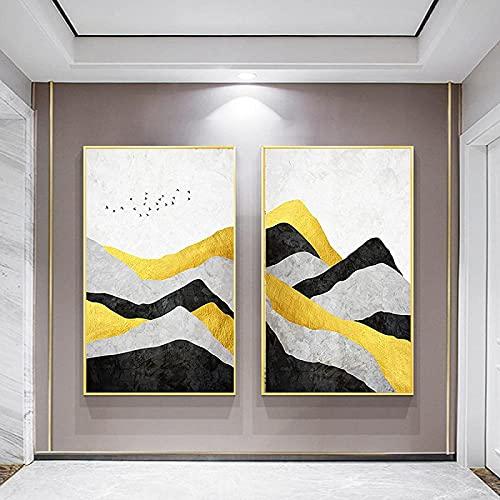 TANXM Póster Impresiones(20x30cm) x2 Sin Marco Resumen Imagen de Nube Blanca montaña Dorada Moderna Sala de Estar decoración del hogar