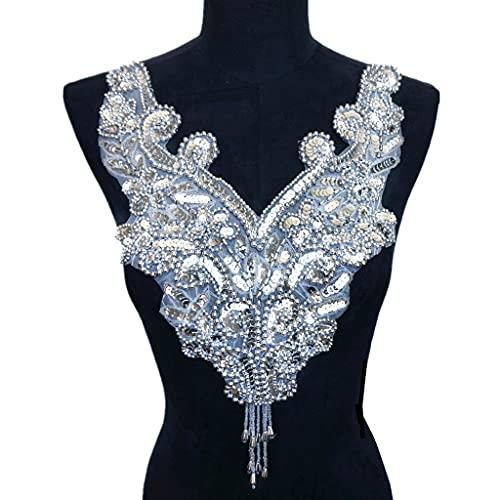 TWDYC Polla de Lentejuelas de Plata Collar de Tela Apliques Coser en el Parche de Bordado Noble para el Vestido de decoración de Boda DIY