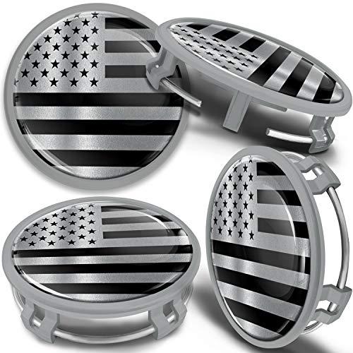 SkinoEu 4 x 75mm Tapas de Rueda de Centro Centrales Llantas Aluminio Tapacubos Compatibles con Mercedes Benz B66470207 / B66470200 Plata Gris Bandera de EE.UU USA CMS 7